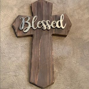 Wooden wall cross with metal BLESSED on it, 14 in.